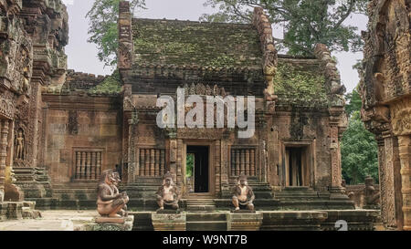 wide view of the main sanctuary at banteay srei temple in angkor - Stock Photo