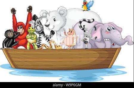 Many wild animals in small boat illustration - Stock Photo