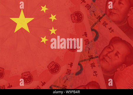 China national flag overlaid with Yuan renminbi banknotes. Chinese money and political situation. Concept of Chinese financial and business markets ch - Stock Photo