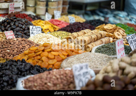 Dried fruit exposed in the city market - Stock Photo