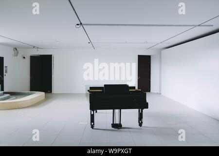 A black large piano in a white room - Stock Photo