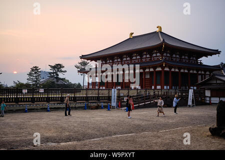The Central Golden Hall of the Kofukuji temple complex at sunset. - Stock Photo