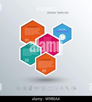 Abstract hexagon business Infographics elements - Stock Photo