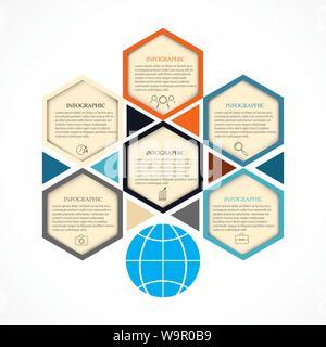 Abstract hexagon infographics template. - Stock Photo