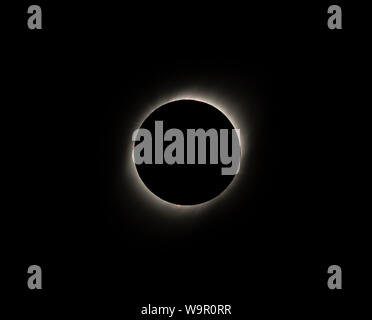 Solar Eclipse at Totality Seen From Vacuna Chile on July 2, 2019. - Stock Photo