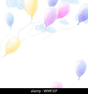 Cute watercolor. Colorful ballons fly in sky, light blue clouds, white background. Baby shower art. Poster background. Print quality. Watercolor kids - Stock Photo