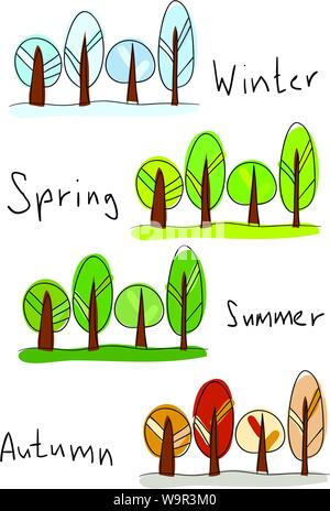 Vector illustration. Four seasons - winter, spring, summer and autumn - Stock Photo