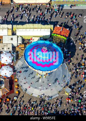 Aerial view, Cranger Kirmes, crowd at the chain carousel, Herne, Ruhr area, North Rhine-Westphalia, Germany - Stock Photo