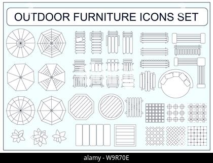 Set of simple outdoor furniture vector icons as design elements - beach chair, bench, table, umbrella, round sofa, seamless floor tiles samples, sofa, - Stock Photo