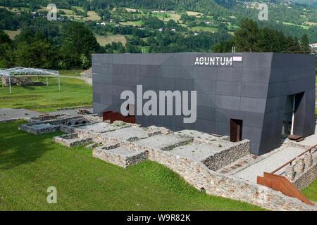museum building, ruins of Aguntum, Municipium Claudium Aguntum, ruin of roman village, Doelsach, Lienz, Eastern Tyrol, Tyrol, Austria, Europe, Dölsach - Stock Photo