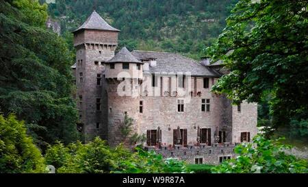 Chateau de la Caze, Gorges du Tarn, Sainte-Enimie, France, Europe - Stock Photo