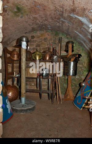 gladiator equipment, roman gladiator equipment, amphitheatre, Trier, Rhineland-Palatinate, Germany, Europe - Stock Photo