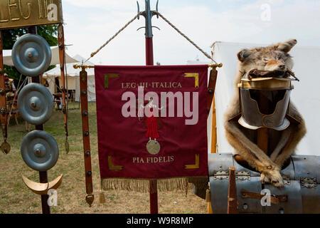 romans festival, roman fort Abusina, guidon, Eining, Bad Goggingen, Neustadt an der Donau, Bavaria, Germany