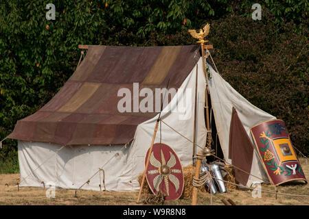 romans festival, roman fort Abusina, tent, Eining, Bad Goggingen, Neustadt an der Donau, Bavaria, Germany