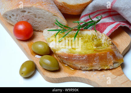 slice of bread with olive oil - Stock Photo
