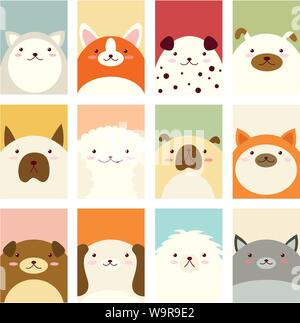 Banner, background, flyer, placard in hand drawn style with cute dogs. Holiday poster for scrapbooking. Vector template card for greeting, decoration, - Stock Photo