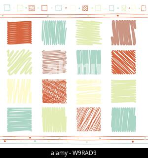 Vector collection of retro scribbled square elements in hand drawn style of of green, pink and red color - Stock Photo