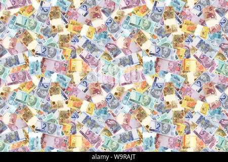 Motley background from chaotically scattered Brasil Reals banknotes abstract seamless geometrical patterns background. - Stock Photo