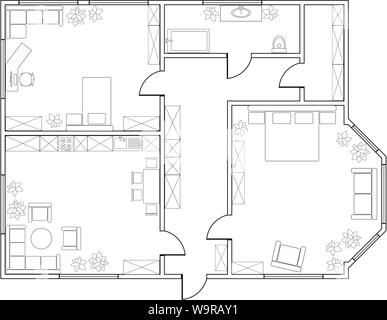 Abstract vector plan of two-bedroom apartment, with kitchen, bathroom, children's room, bedroom, living room, dining room - Stock Photo