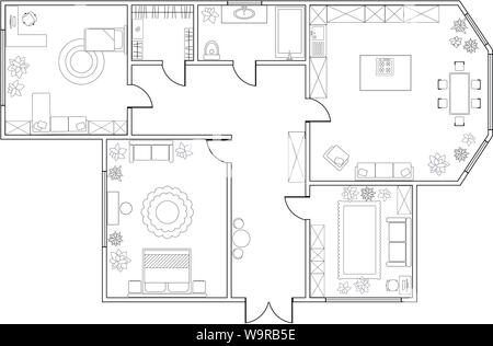 Abstract vector plan of two-bedroom apartment, with kitchen, bathroom, children's room, bedroom, living room, dining room, library - Stock Photo
