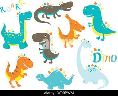 Set of cute cartoon dinosauros - stegosaurus, tyrannosaurus, saurolophus, diplodocus, velociraptor. In retro color. EPS8 - Stock Photo