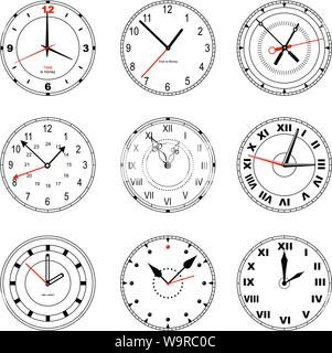 Set of editable clock icons. Dials with roman and standard numbers, with arrows of different shapes. EPS8 - Stock Photo