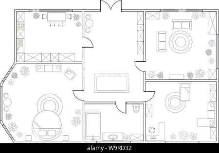 Abstract vector plan of two-bedroom apartment, with kitchen, bathroom,  bedroom, living room, dining room, library. EPS8 - Stock Photo
