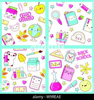 Set of different vector seamless retro patterns (tiling) with cute animals in kawaii style. Endless texture can be used for pattern fills, web page ba - Stock Photo