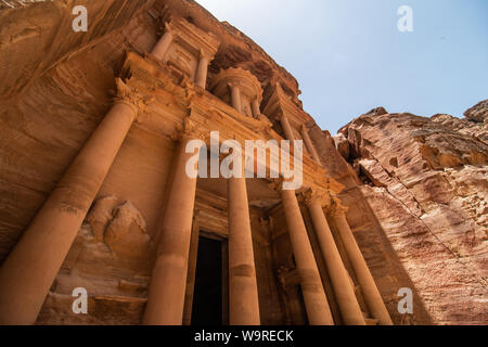 Famous facade of Ad Deir in ancient city Petra, Jordan. Monastery in ancient city of Petra. The temple of Al Khazneh in Petra is one of UNESCO World H - Stock Photo