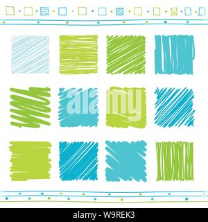 Vector collection of retro scribbled lines with hand drawn style of green and blue color - Stock Photo
