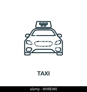 Taxi outline icon. Thin line concept element from tourism icons collection. Creative Taxi icon for mobile apps and web usage - Stock Photo