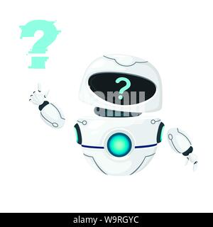 Cute white modern levitating robot waving hand and with question mark face flat vector illustration isolated on white background. - Stock Photo