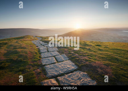 Footpath from Mam Tor to Lose Hill. Sunrise. Peak District National Park. Derbyshire. UK. Stock Photo
