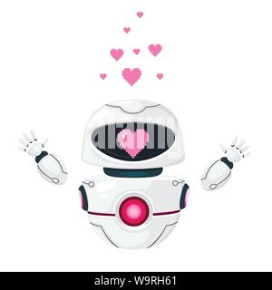 Cute white modern levitating robot raised hands and with pink heart love face flat vector illustration isolated on white background. - Stock Photo