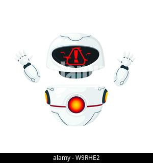 Cute white modern levitating robot raised hands and with alert face flat vector illustration isolated on white background - Stock Photo