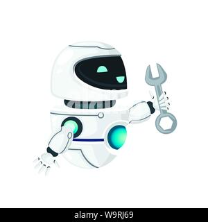Cute white modern levitating robot up raised hand and holding wrench flat vector illustration isolated on white background - Stock Photo