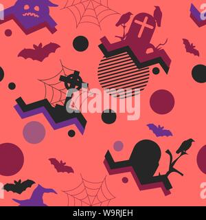 Halloween seamless pattern in memphis style, geometric shapes. Scary pumpkins, gravestones, bats and crows. Vector illustration - Stock Photo