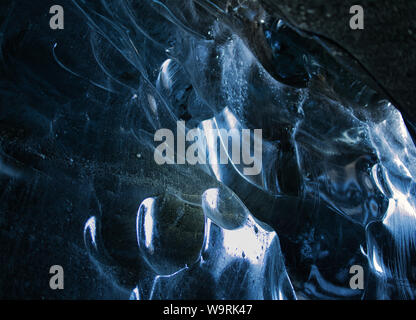 Ice layer from the blue glacier cave in Iceland. Photo from March - Stock Photo