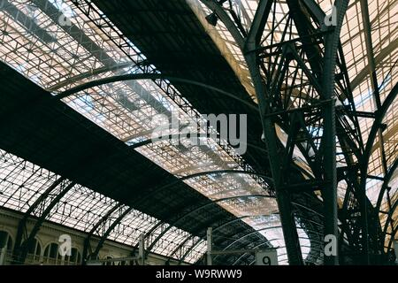 The ceiling of a large European train station - Stock Photo