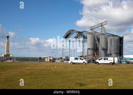 Preparing the stage at Southsea Common for the Victorious Festival at the end of August 2019 - Stock Photo