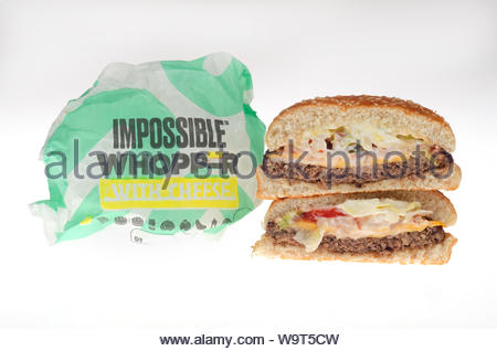 Burger King Impossible Whopper vegetarian, plant based, meatless patty - Stock Photo