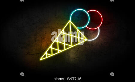 Realistic 3D illustration of Neon Ice Cream sign on grunge wall with copy space, food and drinks sign, fast food and health care concept. - Stock Photo