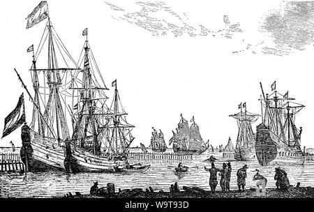French commercial ships at the age of Louis XIV, 17th century - Stock Photo