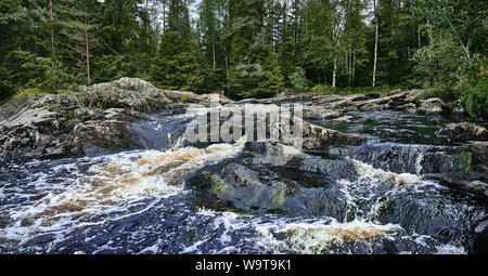 Mountain river in the forest. Panoramic landscape. Overcast day in Karelia, Ruskeala - Stock Photo