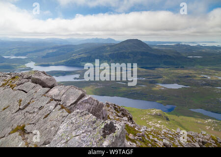 Looking over to the mountain Ben Stack from the Corbett Arkle, Sutherland, Scotland. - Stock Photo