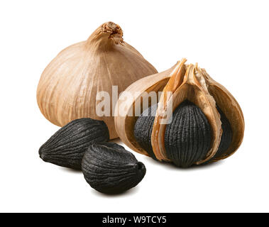 Black garlic bulbs and cloves isolated on white background. Package design element with clipping path