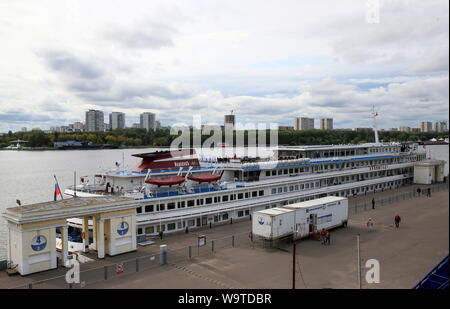 Moscow, Russia. 15th Aug, 2019. MOSCOW, RUSSIA - AUGUST 15, 2019: The four-deck motor ship Kronshtadt moored at the North River Terminal. Vladimir Gerdo/TASS Credit: ITAR-TASS News Agency/Alamy Live News - Stock Photo