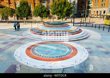 The Peterloo Massacre memorial, designed by Jeremy Deller, outside the Manchester Central building, Manchester, UK - Stock Photo