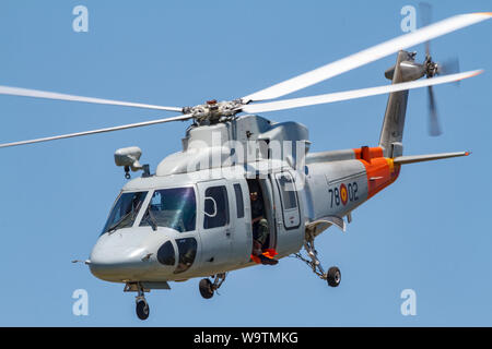 MOTRIL, GRANADA, SPAIN-JUN 17: Helicopter Sikorsky S-76C taking part in an exhibition on the 13th international airshow of Motril on Jun 17, 2018, in - Stock Photo