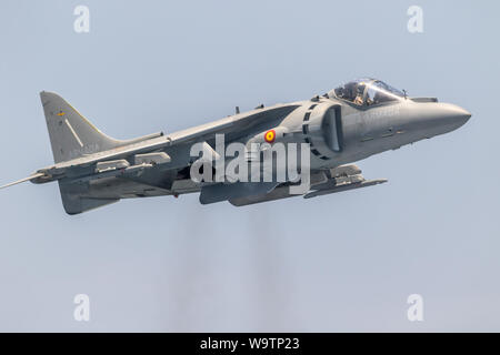 MOTRIL, GRANADA, SPAIN-JUN 11: Aircraft AV-8B Harrier Plus taking part in an exhibition on the 12th international airshow of Motril on Jun 11, 2017, i - Stock Photo